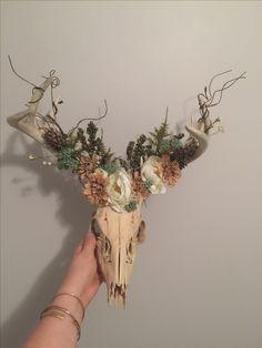 Rustic deer skull arrangement. All flowers from hobby lobby