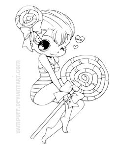 Lollipop Girl Lineart By YamPuffdeviantart On DeviantART