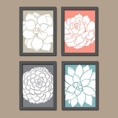 Beige Coral Gray Aqua Dahlia Floral Flower Flourish by trmDesign, $33.00