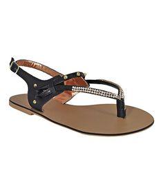 Look at this #zulilyfind! Black Studded Diamond Strap Leather Sandal #zulilyfinds
