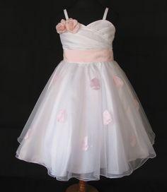 418ab860ea3 Φορέματα για Παρανυφάκια - Επίσημα Φορέματα για Κορίτσια :: Μοναδικό Παιδικό  Λευκό με Ροζ Φόρεμα