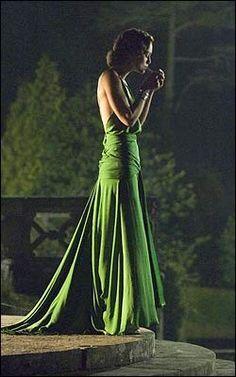 Emerald green evening dress Atonement-style.