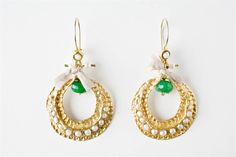 Loop Green Earrings
