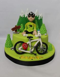 Torta Ciclista Bicycle Party, Bicycle Cake, Bike Cakes, Soccer Cake Pops, Mountain Bike Cake, Adult Birthday Cakes, 70th Birthday, 30 Cake, Cake Models
