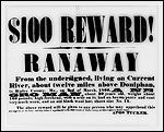Poster advertising $100 reward for runaway slaves from 1860