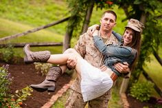marine carrying fiance wearing his hat - Tavia Larson Photography, Enagagement Photography in Central Pennsylvania