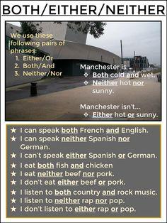 Grammar: both, either, neither English Grammar Test, English Language Learning, English Writing, English Study, English Vocabulary, Learning Spanish, English Prepositions, German Language, Spanish Language