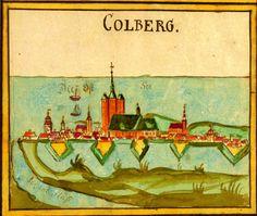 Colorierte Abb. der Stadt und des  Hafens von Kolberg, 18.Jh.;  Quelle: Landesarchiv Greifswald,  Rep.40 III Nr. 231c.