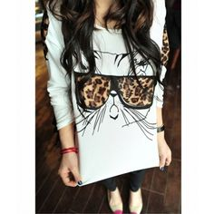 0ad8889cbee New Fashion Women T-shirt Leopard Applique Bespectacled Kitten Trendy  Printed Glasses Cat Tee White Online Shopping