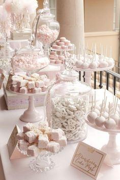 dessert bars Planning a sweet table for a wedding? Here is How To Set Up A Candy Bar At A Wedding Reception. Be sure to steal these sweet table ideas for a wedding. Candybar Wedding, Wedding Desserts, Wedding Decorations, Elegant Desserts, Pink Table Decorations, Bridal Shower Desserts, Easy Desserts, Elegant Cakes, Mini Desserts