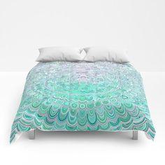 NEW artwork: Turquoise Ice Flower Mandala Comforter by David Zydd #duvetcover #bedroom #roomdecor