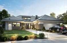 Projekt domu Wyjątkowy 2 - 201.09 m2 - koszt budowy 361 tys. zł Small House Exteriors, Modern Bungalow House, My House Plans, Forest House, Design Case, House Front, Home Fashion, Planer, Luxury Homes