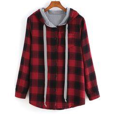 SheIn(sheinside) Red Hooded Long Sleeve Plaid Pocket Sweatshirt