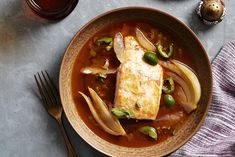 This recipe for a perfectly pan-seared halibut fillet served in a spicy scarlet broth comes from chef Mourad Lahlou, of the Moroccan-inspired restaurant Aziza in San Francisco.