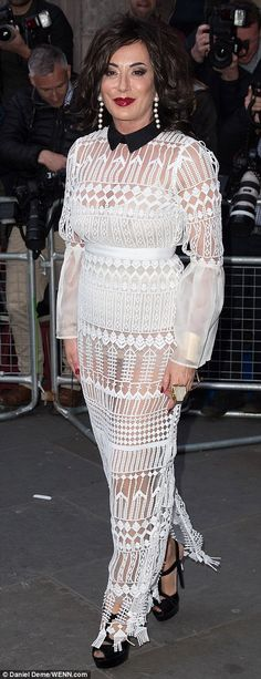 Sheer winner: Elsewhere, Nancy Dell'olio, 55, was sure to turn heads in a sheer white ense...