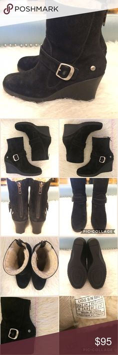 Ugg black wedged booties, Size 6 Ugg black booties. 3 inch wedge heel. Genuine sheepskin. Great condition! Size 6, but I think these fit more like a 5.5, which is why I have to sell them. UGG Shoes Ankle Boots & Booties
