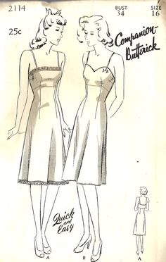 """1940s Misses Camisole Top Slip Vintage Sewing Pattern, Butterick 2114 Bust 34"""""""