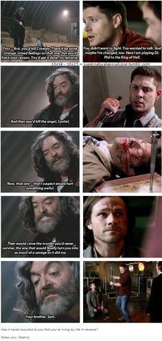 Dean Winchester is infinitely stronger than Cain. Cain, who lived with the Mark for centuries without letting it fully consume him until those last few months of his life... But Dean was stronger. Because for all the times the Mark challenged Dean's control- cracked it even- he still had the strength Cain never possessed. Dean was strong enough to save his family from himself. In all those hundreds of years, that was the one thing Cain never could do.