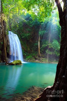 Erawan Waterfall In Kanchanaburi Thailand Canvas Print / Canvas Art by Noppakun…