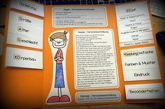 """Das Thema """"Personenbeschreibung"""" bietet sich ganz gut an, alles, was man im Unterrichtsverlauf erarbeitet in einem Lapbook festzuhalten. Die..."""
