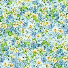 Somebunny's Garden Blue Floral Quilt Fabric Out Of Print Premium Cotton Blue Flowers White Flowers Wilmington