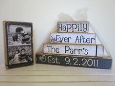 Personalized Happily Ever After wooden blocks for wedding or gift with picture everything included black vintage wedding Valentines day gift