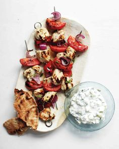 Souvlaki is usually served with tzatziki, a yogurt sauce with cucumbers. This version has more cucumber than yogurt, for a dish with crunch and freshness but few calories.