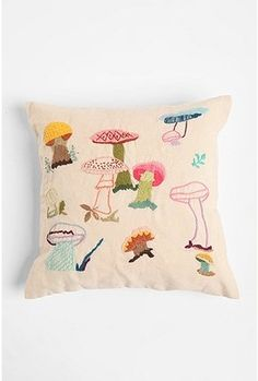 cushion embroidery, craft, urban outfitters, mushroom pillow, hous, pillows, embroid mushroom, embroideri, mushrooms