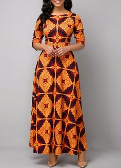 Long Sleeve Boat Neck Tribal Print Maxi Dress in 2020 (With images) Best African Dresses, African Fashion Skirts, African Traditional Dresses, African Print Dresses, African Print Fashion, Women's Fashion Dresses, Maxi Dress With Sleeves, The Dress, Sleeve Dresses