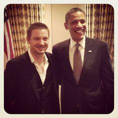 Jeremy Renner with President Barack Obama