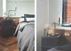 archventil_interior_design_flat_krms-13 interior design - bedroom -  fish bone parquet floor and wall surface - consolle - fontini socket and switch - mirror - industrial lamps and black metal bedside tables - black and mint green linen - flowers