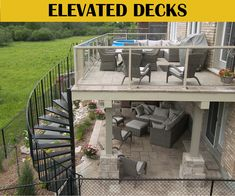 walkout basement deck and patio ideas - Google Search Patio Deck Designs, Patio Design, Patio Ideas, Backyard Ideas, Terrace Ideas, Pergola Ideas, Porch Ideas, Walkout Basement Patio, Concrete Deck