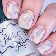 Neutral dry brush nail art