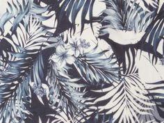 Tissu Jersey Polyester Imprimé Feuillages et Fleurs Tropicales à prix mini sur…
