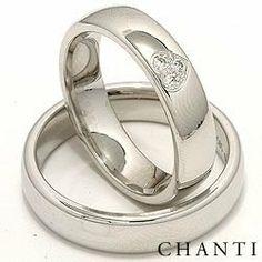 2 anelli di nozze in 14 carati oro bianco 0,075 ct