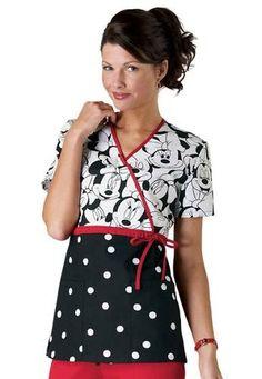 Cherokee Tooniforms Miss Minnie Mouse Print Empire Waist Mock-wrap Scrub Tops Main Image Scrubs Pattern, Disney Scrubs, Cute Scrubs, Work Uniforms, Nursing Uniforms, Scrubs Uniform, Medical Scrubs, Peeling, Scrub Tops
