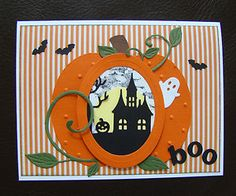 hand made halloween cards | Stampin-Up-Handmade-Halloween-4-Card-Kit-w-sample-Haunted-House-Ghost ...