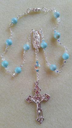 Larimar Car Mirror Rosary by JosiesSpiritJewels on Etsy https://www.etsy.com/listing/202013963/larimar-car-mirror-rosary