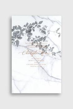 Una invitación en tendencia con mármol y cobre de Bliss and Bone. #weddinginvitation