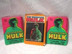 VINTAGE LOT OF 2 WAX PACKS 1979 THE INCREDIBLE HULK TV PHOTO CARDS TOPPS