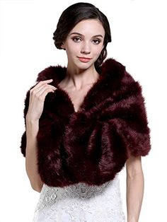 Aukmla Womens Wedding Fur Wraps and Shawls Bridal Fur Stole for Bridesmaids *** Continue to the product at the image link.