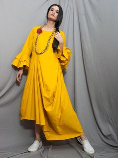 Mustard Yellow Cambric Cowl Dress with Flower Neckpiece - Set of 2 Salwar Designs, Blouse Designs, Simple Dresses, Cute Dresses, A Line Kurti, Pakistan Fashion, Designer Dresses, Designer Kurtis, Draped Dress