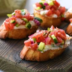 Greek Bruschetta with Feta – This appetizer recipe is loaded with flavor. Toasted bread – crostini- coated in a creamy feta spread and topped with tomato, cucumber, and red onion seasoned with Greek Vinaigrette. Best Appetizer Recipes, Appetizers For Party, Appetizer Ideas, Nibbles Ideas, Christmas Appetizers, Dinner Recipes, Easy Summer Appetizers, Beach Appetizers, Canapes Ideas