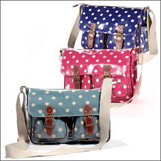 Polka Dot oil cloth satchels from ebay - great for festivals and camping I reckon