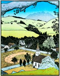 Tom Killion  wood block print 14 x 11 $285  maybe for terrace room?