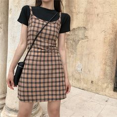 """Plaid Dress from heyahey""""Use 'LITTLEALIEN' to get off!"""" Source by lamkir dress korean Korean Fashion Dress, Korean Dress, Korean Street Fashion, Korean Outfits, Retro Outfits, Cute Casual Outfits, Asian Fashion, Look Fashion, Fashion Outfits"""