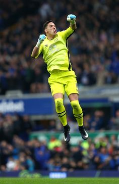 Joel Robles of Everton celebrates the third Everton goal by Phil Jagielka during the Premier League match between Everton and Leicester City at Goodison Park on April 9, 2017 in Liverpool, England.