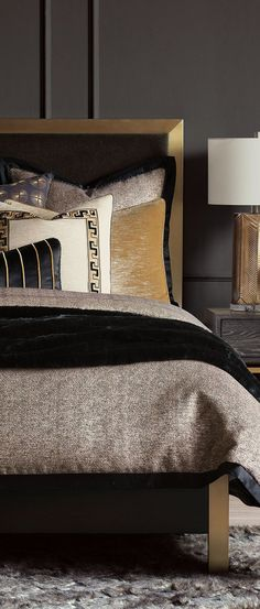 Barclay dazzles in urbane black and gold with the opulent Florian collection. Its refined silhouettes take shape with rich faux furs, faux bois shams, and show-stealing sparkles. Barclay has created a look that pairs glamorous tastes with sophisticated refinement. #bedding #luxurybedding #designerbedding #bedroomideas #decoratingideas #masterbedroom #duvetcovers #comforters #luxe #glamorous Bedding And Bath, Glamourous Bedroom, Bed Design, Decor Design, Home Decor, Luxury Bedding Sets, Bed, Luxury Bedding, Bedding Brands
