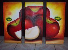 Resultado de imagen para cuadros al oleo modernos Multi Canvas Painting, Diy Painting, Watercolor Paintings, 3 Piece Art, Apple My, Canvas Designs, Fruit Art, Kitchen Wall Art, Art Pages