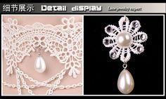 Готический руководство сымитированная перла и белое кружево серьги и ожерелье ювелирных изделий / дешево серьги комплект для женщин свадьбы купить на AliExpress